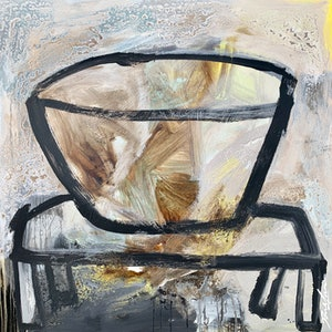 (CreativeWork) Black Vessel on Black Table #4 by Dan Mason. mixed-media. Shop online at Bluethumb.