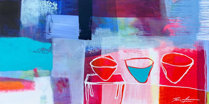 (CreativeWork) Turquoise In The Middle #1 by Dan Mason. Mixed Media. Shop online at Bluethumb.