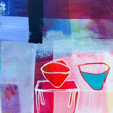 (CreativeWork) Turquoise In The Middle #1 by Dan Mason. mixed-media. Shop online at Bluethumb.
