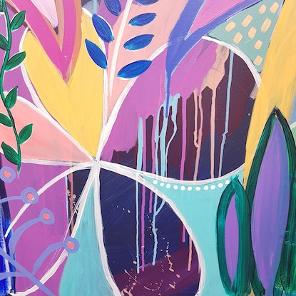 (CreativeWork) Rain(bow)forest Diptych by Claire Cooper. Acrylic Paint. Shop online at Bluethumb.