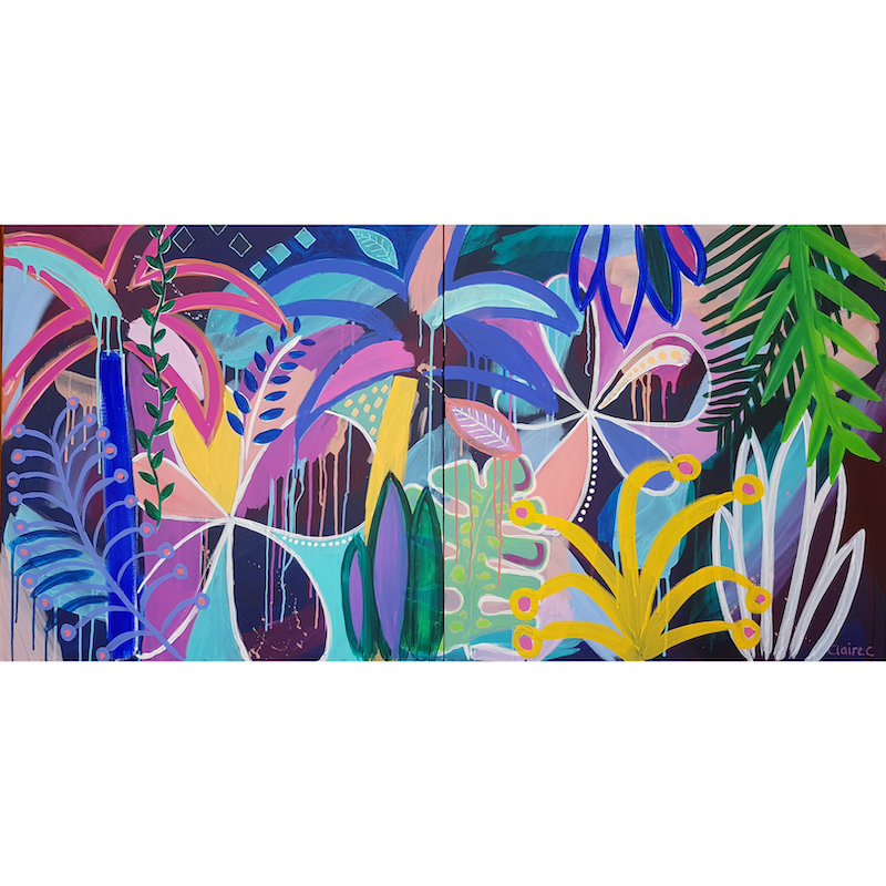 (CreativeWork) Rain(bow)forest Diptych by Claire Cooper. acrylic-painting. Shop online at Bluethumb.