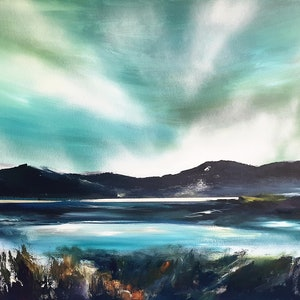 (CreativeWork) The Lake Side Drive by Alice Howell. oil-painting. Shop online at Bluethumb.