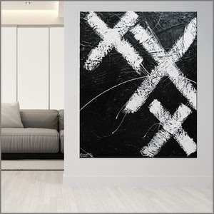 (CreativeWork) White over Black 120cm x 150cm  Acrylics ink Gloss Texture  Abstract Black White Minimalist by _Franko _. acrylic-painting. Shop online at Bluethumb.
