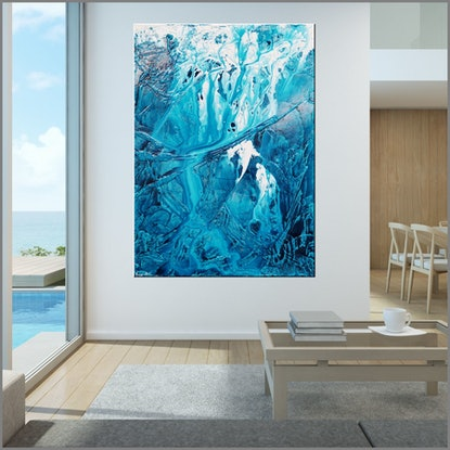 (CreativeWork) Turquoise Style 140cm x 100cm  Turquoise Blue  White Abstract Textured Acrylic With Gloss Finish by _Franko _. Acrylic Paint. Shop online at Bluethumb.