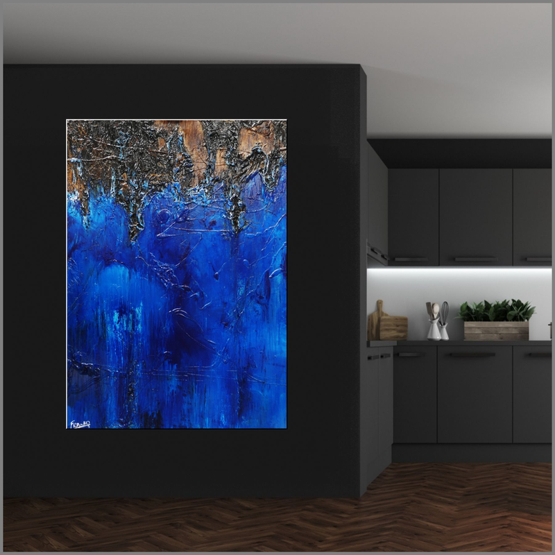 (CreativeWork) Blue Evolution 140cm x 100cm  Blue Brown Abstract Textured With Gloss Finish by _Franko _. Acrylic Paint. Shop online at Bluethumb.