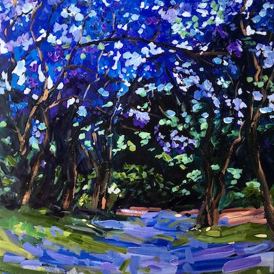 (CreativeWork) Jacarandas of Woonga  by Meredith Howse. other-media. Shop online at Bluethumb.