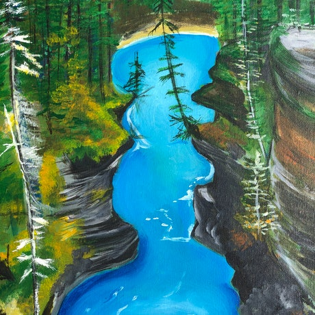 (CreativeWork) The River by Nicola Toms. Acrylic Paint. Shop online at Bluethumb.