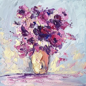 (CreativeWork) Not Alone - FRAMED -  Still Life Flowers by Angela Hawkey. oil-painting. Shop online at Bluethumb.