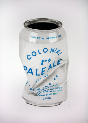 (CreativeWork) Colonial Brewing Co. Tinnie by Dean Spinks. Drawings. Shop online at Bluethumb.