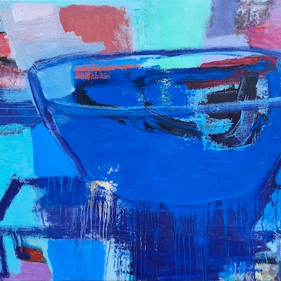 (CreativeWork) Blue Wonder by Dan Mason. oil-painting. Shop online at Bluethumb.