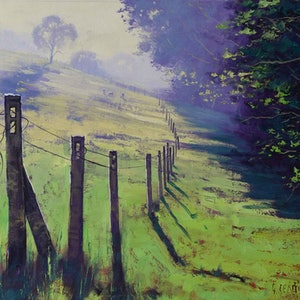 (CreativeWork) Along the fence line by Graham Gercken. oil-painting. Shop online at Bluethumb.