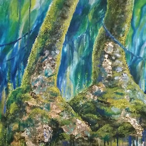 (CreativeWork) 'ANCIENT SISTERS'  Antarctic Beech Trees  by Susan Capan. oil-painting. Shop online at Bluethumb.