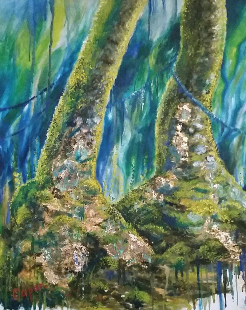 (CreativeWork) 'ANCIENT SISTERS'  Antarctic Beech Trees  by Susan Capan. Oil Paint. Shop online at Bluethumb.