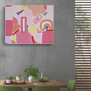 (CreativeWork) Pink Peace by Ellen McKenna. acrylic-painting. Shop online at Bluethumb.