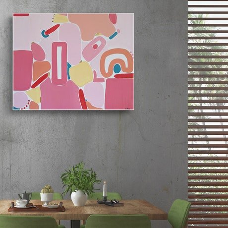 (CreativeWork) Pink Peace by Ellen McKenna. Acrylic Paint. Shop online at Bluethumb.