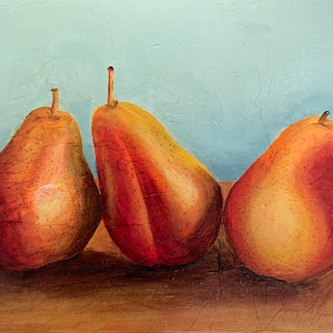 (CreativeWork) Still life Corella Pears by Hayley Kruger. #<Filter:0x0000559620a72bf8>. Shop online at Bluethumb.