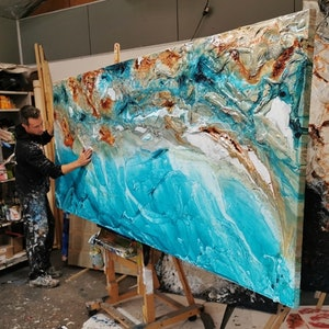 (CreativeWork) Crushed Southern Ice 270cm x 120cm Linen Teal rustTextured Ink Abstract Gloss Finish FRANKO  by _Franko _. acrylic-painting. Shop online at Bluethumb.