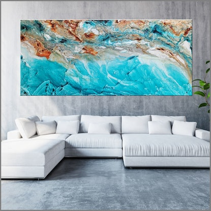 (CreativeWork) Crushed Southern Ice 270cm x 120cm Linen Teal rustTextured Ink Abstract Gloss Finish FRANKO  by _Franko _. Acrylic Paint. Shop online at Bluethumb.