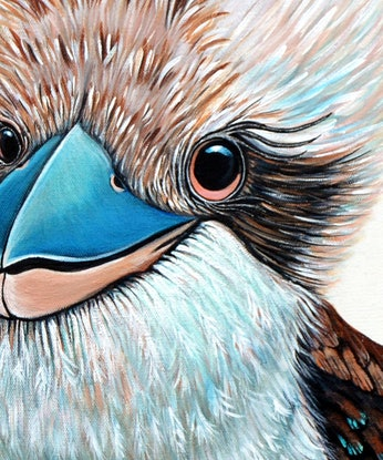 (CreativeWork) Kooky Kookaburras by Linda Callaghan. Acrylic Paint. Shop online at Bluethumb.