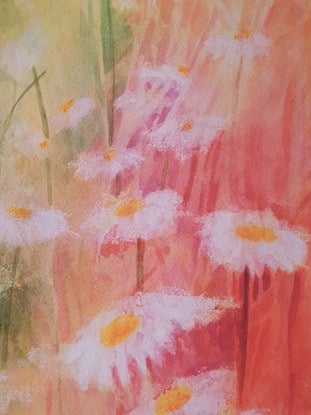(CreativeWork) Sunshine Daisies by Lucinda Leveille. Watercolour Paint. Shop online at Bluethumb.