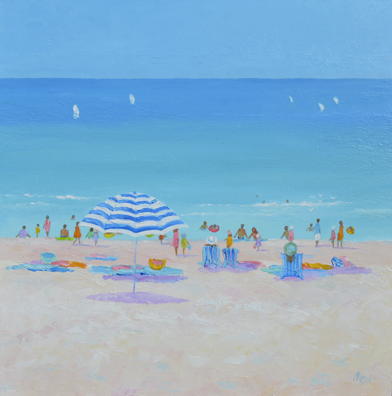 (CreativeWork) Sun Sand Surf and Summer Breezes by Jan Matson. oil-painting. Shop online at Bluethumb.