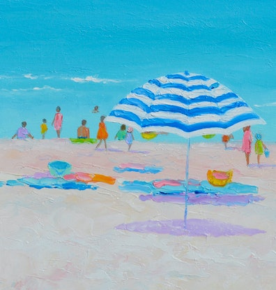 (CreativeWork) Sun Sand Surf and Summer Breezes by Jan Matson. Oil Paint. Shop online at Bluethumb.