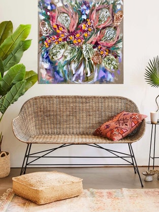 (CreativeWork) sunset protea and gum blossom  by Amanda Brooks. Acrylic Paint. Shop online at Bluethumb.