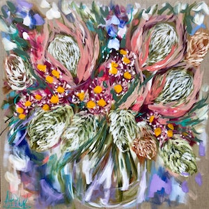 (CreativeWork) sunset protea and gum blossom  by Amanda Brooks. acrylic-painting. Shop online at Bluethumb.