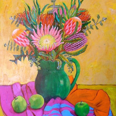 (CreativeWork) Green Jug with flowers and apples. by Nicole Orange. Acrylic Paint. Shop online at Bluethumb.