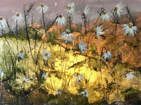 (CreativeWork) To The Daisy (Wordsworth) by Louise Croese. Mixed Media. Shop online at Bluethumb.