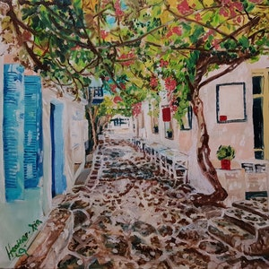 (CreativeWork) Noon Break - Crete Island newly framed by ALAN HEATHER-XIA. oil-painting. Shop online at Bluethumb.
