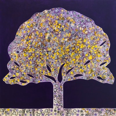 (CreativeWork) Elaborate Tree Purple - CZ19041 by Carol Zsolt. acrylic-painting. Shop online at Bluethumb.