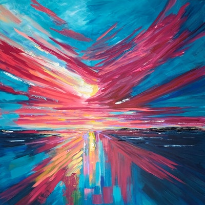 (CreativeWork) Sky on fire by Maggie Deall. acrylic-painting. Shop online at Bluethumb.