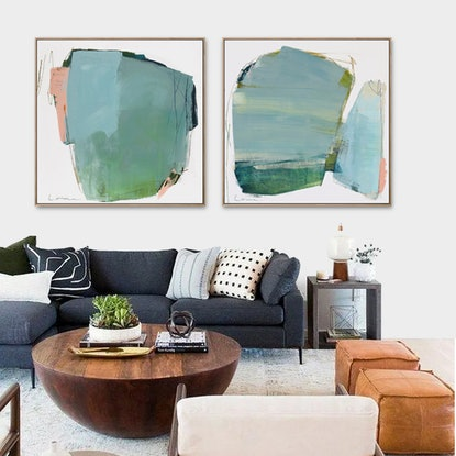 (CreativeWork) Yen - large blue grey green abstract by Stephanie Laine. Acrylic Paint. Shop online at Bluethumb.