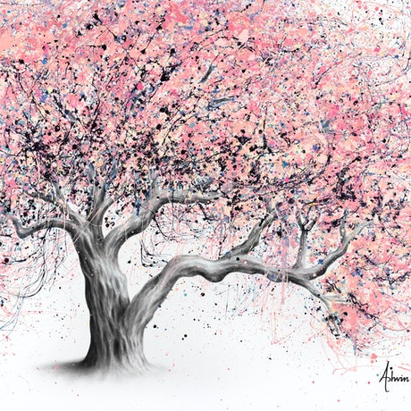 (CreativeWork) Taffy Blossom Tree by Ashvin Harrison. Acrylic Paint. Shop online at Bluethumb.