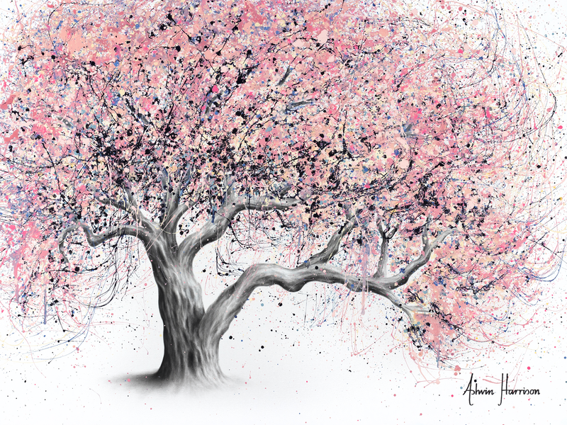 (CreativeWork) Taffy Blossom Tree by Ashvin Harrison. acrylic-painting. Shop online at Bluethumb.