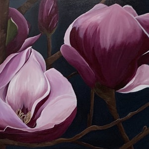 (CreativeWork) Magnolia by Julie Christensen. acrylic-painting. Shop online at Bluethumb.