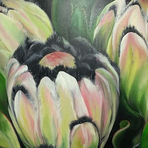 (CreativeWork) Protea by Julie Christensen. oil-painting. Shop online at Bluethumb.