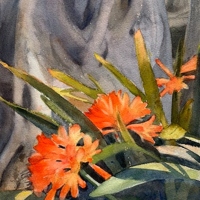 (CreativeWork) Clivia under the giant by Shelly Du. watercolour. Shop online at Bluethumb.