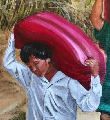 (CreativeWork) Three Men Loading Rice on the Mekong by Sylvia Barnes. Oil Paint. Shop online at Bluethumb.