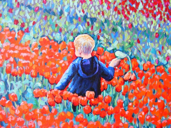 """(CreativeWork) """"BOY IN THE TULIPS"""" by Daniela Selir. Oil Paint. Shop online at Bluethumb."""