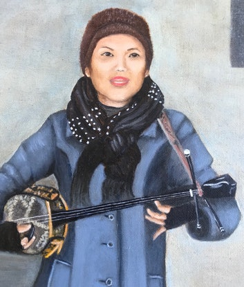(CreativeWork) Lady Busker at Flinders Street  by Sylvia Barnes. Oil Paint. Shop online at Bluethumb.