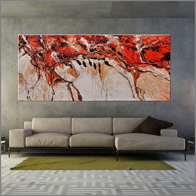 (CreativeWork) Jupiter Ascending 270cm x 120cm Brown Ochre Oxide Orange White Textured Ink Abstract Gloss Finish FRANKO  by _Franko _. acrylic-painting. Shop online at Bluethumb.