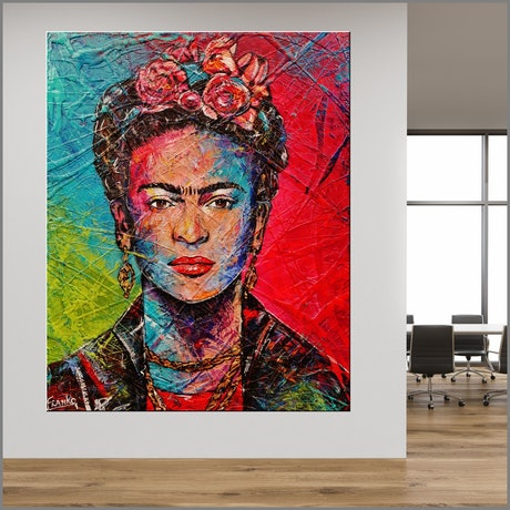 (CreativeWork) Frida 120cm x 150cm Urban Pop Abstract Realism Frida Kahlo Textured Acrylic Gloss Finish FRANKO by _Franko _. Acrylic Paint. Shop online at Bluethumb.