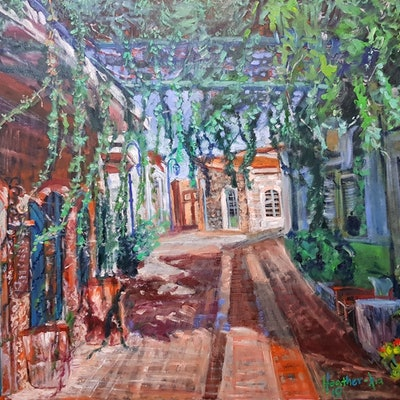 (CreativeWork) Light and Shadow - Crete Island by ALAN HEATHER-XIA. oil-painting. Shop online at Bluethumb.