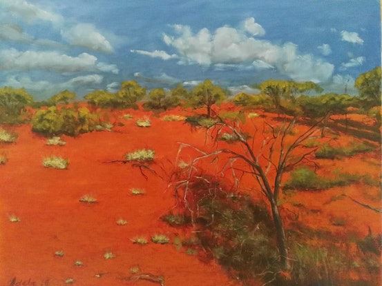 (CreativeWork) Somewhere in the outback  by Adela Vojnovic. Oil Paint. Shop online at Bluethumb.