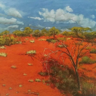 (CreativeWork) Somewhere in the outback  by Adela Vojnovic. oil-painting. Shop online at Bluethumb.