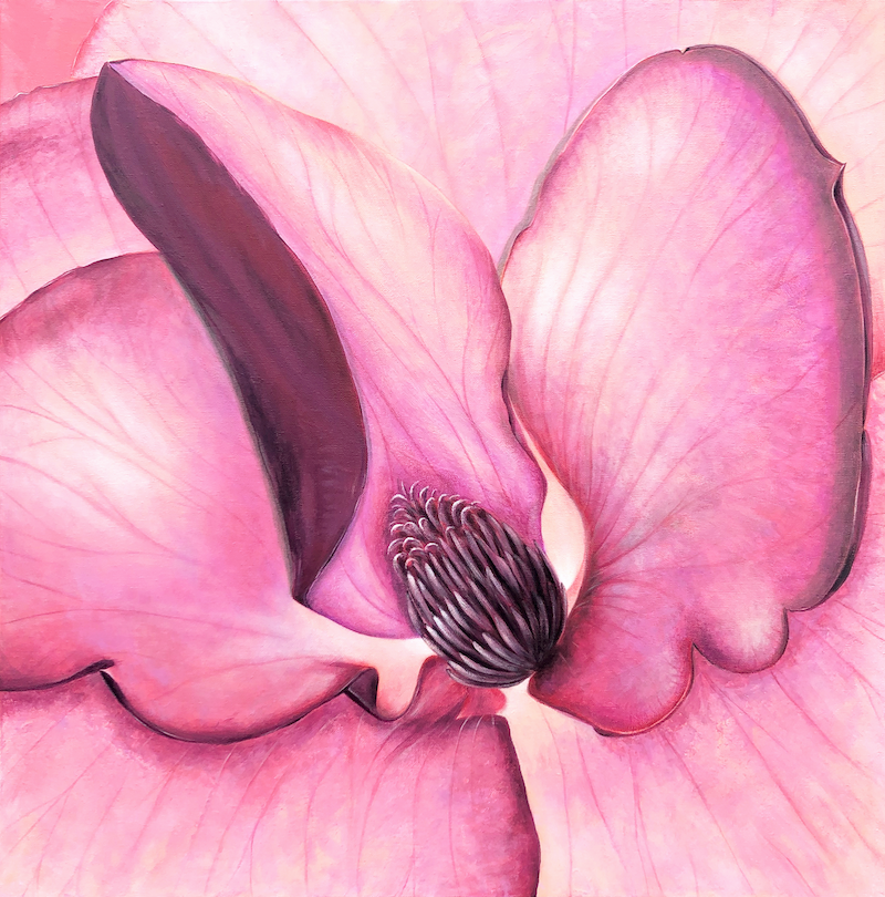 (CreativeWork) Sunshine Through My Magnolia by Andrea Marriette. acrylic-painting. Shop online at Bluethumb.
