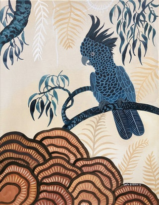 (CreativeWork) Black Cockatoo Forest by Sally Browne. Watercolour Paint. Shop online at Bluethumb.