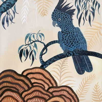 (CreativeWork) Black Cockatoo Forest by Sally Browne. watercolour. Shop online at Bluethumb.